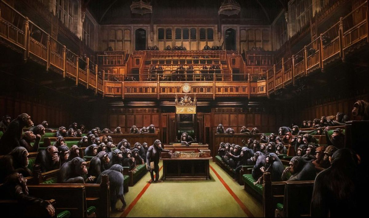 Has Banksy Altered His Famed Painting of British Parliamentarians as Chimps? Either Way, It Could Fetch $2.5 Million at Auction Next Month