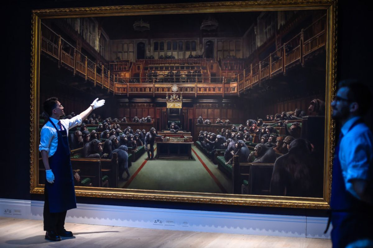 Banksy's Chimp Parliament Painting Sells for a Startling $12 Million, Prompting Both Cheers and Jeers